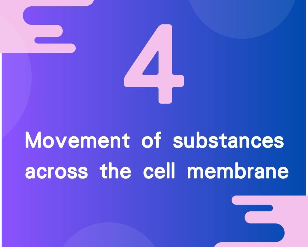 4 Movement of substances across the cell membrane